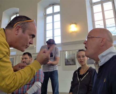 Achim Winter, German television ZDF, in overtone class with Wolfgang Saus