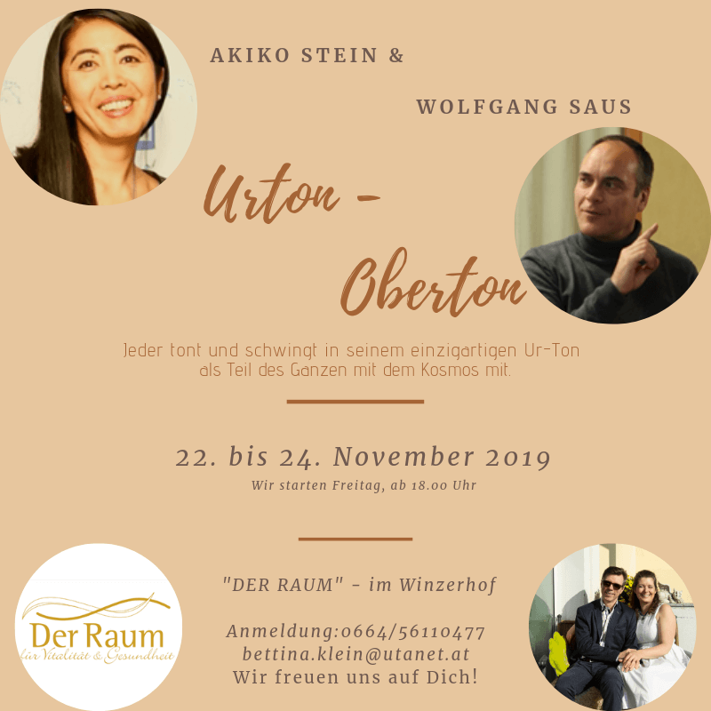 Plakat von Urton-Oberton Seminar mit Akiko Stein und Wolfgang Saus