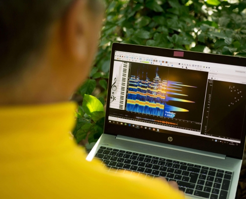 Wolfgang Saus with laptop and VoceVista software in nature