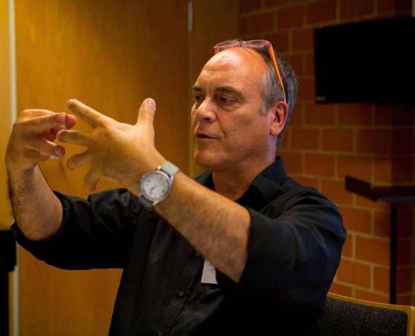 Wolfgang Saus - Workshop an der Musikhochschule Freiburg. Foto: Luna Bürger.
