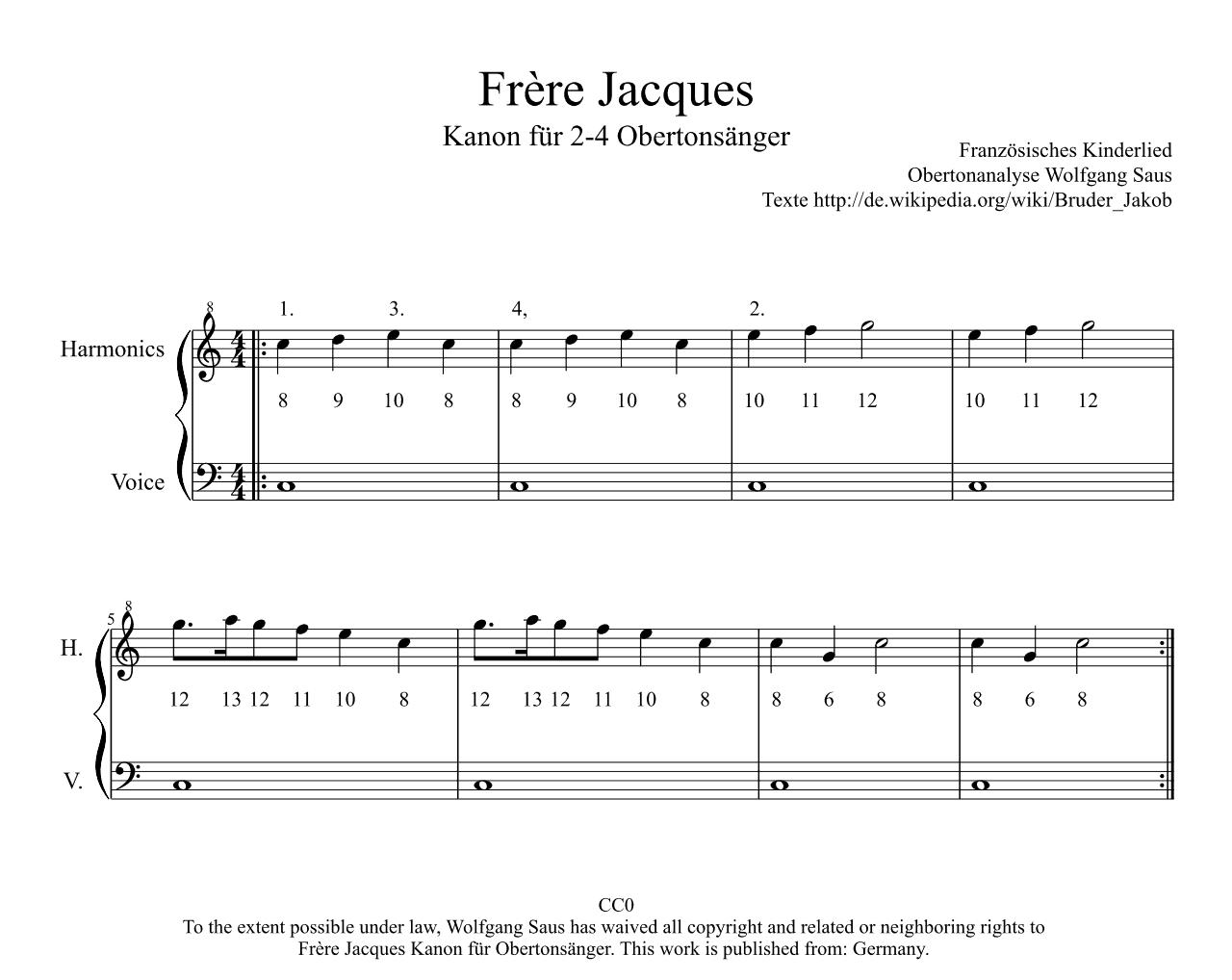 Noten Frère Jaques