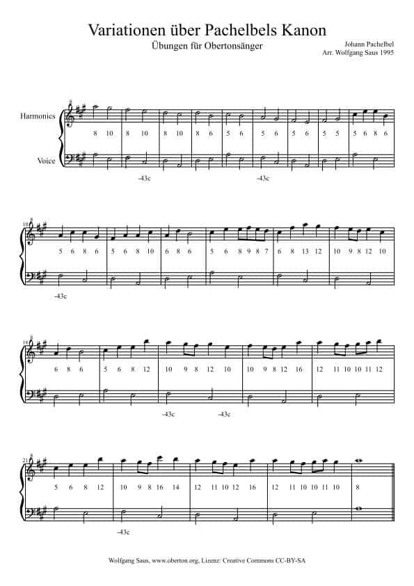 Pachelbel Kanon, Fassung für Obertongesang
